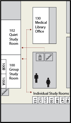 Floor map showing the location of the Medical Library office and study rooms.  To reach the Medical Library office, turn left out of the stairs or elevator, then turn right down the next hallway.  The Medical Library Office will be the first door on the right.